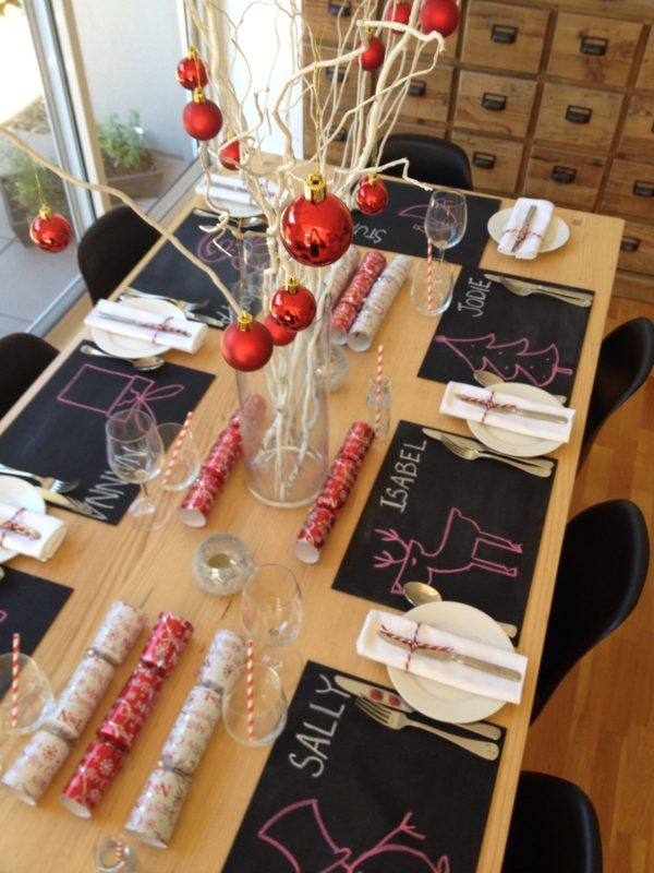 modern christmas lunch table setting